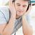 positief · jonge · man · luisteren · muziek · vloer - stockfoto © wavebreak_media