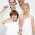 glimlachend · ouders · kinderen · schoonmaken · tanden · badkamer - stockfoto © wavebreak_media