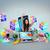 fille · utilisant · un · ordinateur · portable · app · icônes · composite · numérique - photo stock © wavebreak_media