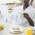 красивый · мужчина · халат · завтрак · за · пределами · дома - Сток-фото © wavebreak_media