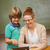 tanár · segít · fiú · digitális · táblagép · osztály - stock fotó © wavebreak_media