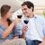 couple having a glass of wine in their living room stock photo © wavebreak_media
