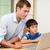 apa · kicsi · fiú · néz · laptop · számítógép - stock fotó © wavebreak_media