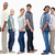 Three couples standing back to back looking at each other against white background stock photo © wavebreak_media