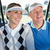 happy golfing couple sitting in golf buggy smiling stock photo © wavebreak_media