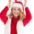 piękna · kobieta · christmas · dar · Święty · mikołaj · hat - zdjęcia stock © wavebreak_media