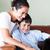 anya · fiú · játszik · laptop · kanapé · üzlet - stock fotó © wavebreak_media