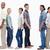 Three couples standing back to back against white background stock photo © wavebreak_media