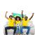 Cheering brazilian football fans in yellow on the sofa stock photo © wavebreak_media