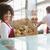 smiling waitress carrying basket of bread stock photo © wavebreak_media