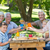 vader · praten · zoon · picknick · park · glimlachend - stockfoto © wavebreak_media