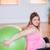 terhes · nő · testmozgás · labda · otthon · ház · boldog - stock fotó © wavebreak_media