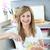 portré · örömteli · nő · torta · konyha · otthon - stock fotó © wavebreak_media