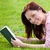 Cheerful young woman reading a book lying on the grass stock photo © wavebreak_media