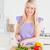 güzel · sarışın · kadın · sebze · modern · mutfak · iç - stok fotoğraf © wavebreak_media