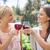 mosolyog · női · barátok · borospoharak · szépség · nyár - stock fotó © wavebreak_media