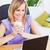 mulher · atraente · copo · café · usando · laptop · sessão - foto stock © wavebreak_media
