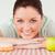 güzel · bir · kadın · poz · tatlı · çörek · yeşil · elma · mutfak - stok fotoğraf © wavebreak_media