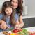 boldog · nő · tapsolás · zöldségek · fiatal · vágódeszka - stock fotó © wavebreak_media
