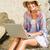довольно · блондинка · используя · ноутбук · пляж · компьютер - Сток-фото © wavebreak_media