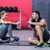 sitting muscular couple talking together stock photo © wavebreak_media
