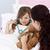 moeder · dochter · spelen · stethoscoop · bed · glimlach - stockfoto © wavebreak_media