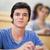 portre · öğrenci · dinleme · amfitiyatro · mutlu - stok fotoğraf © wavebreak_media