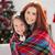 ünnepi · anya · lánygyermek · pléd · otthon · nappali - stock fotó © wavebreak_media