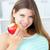 positivo · mulher · alimentação · maçã · sorridente · câmera - foto stock © wavebreak_media