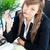 деловая · женщина · очки · сидят · столе · служба - Сток-фото © wavebreak_media