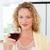 kadın · bakıyor · kamera · içmek · şarap · aile - stok fotoğraf © wavebreak_media