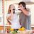 çift · içme · mutfak · ev · gıda - stok fotoğraf © wavebreak_media