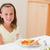 gülen · kız · yemek · masası · salata · mutluluk · olay - stok fotoğraf © wavebreak_media