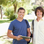 Close-up of two smiling male students with a touch pad in a park stock photo © wavebreak_media