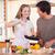 çift · pişirme · akşam · yemeği · mutfak · ev · gıda - stok fotoğraf © wavebreak_media