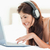 mulher · sorrindo · fones · de · ouvido · mouse · laptop · relaxante - foto stock © wavebreak_media