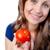 笑顔の女性 · トマト · 孤立した · 白 · 食品 - ストックフォト © wavebreak_media