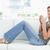 Frau · Sitzung · Couch · Beine · angehoben · lächelnd - stock foto © wavebreak_media