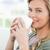 shot · uśmiechnięta · kobieta · patrząc · kubek · usta - zdjęcia stock © wavebreak_media