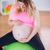 terhes · nő · megérint · has · testmozgás · labda · nappali - stock fotó © wavebreak_media