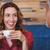 cute · paar · koffie · samen · cafe · gelukkig - stockfoto © wavebreak_media