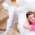 alegre · mulher · relaxante · caixas · casa · sorridente - foto stock © wavebreak_media