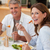 gelukkig · glimlachend · paar · eten · diner · samen - stockfoto © wavebreak_media