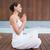 zawartość · brunetka · biały · posiedzenia · Lotos · stanowią - zdjęcia stock © wavebreak_media