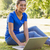 pretty woman using laptop in park stock photo © wavebreak_media