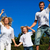 kaukasisch · familie · spelen · tuin · blauwe · hemel · glimlach - stockfoto © wavebreak_media
