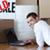 красивой · человека · полу · ноутбука · счастливым · домой - Сток-фото © wavebreak_media