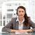 aantrekkelijk · zakenvrouw · hoofdtelefoon · vergadering · tabel - stockfoto © wavebreak_media