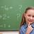 aranyos · iskolás · lány · gondolkodik · iskolatábla · iskola · diák - stock fotó © wavebreak_media
