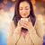 composite image of smiling woman smelling hot beverage stock photo © wavebreak_media